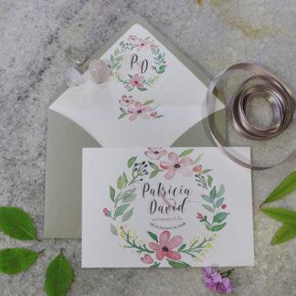 Invitación boda corona flores