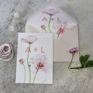 invitaciones bodas flores rosas